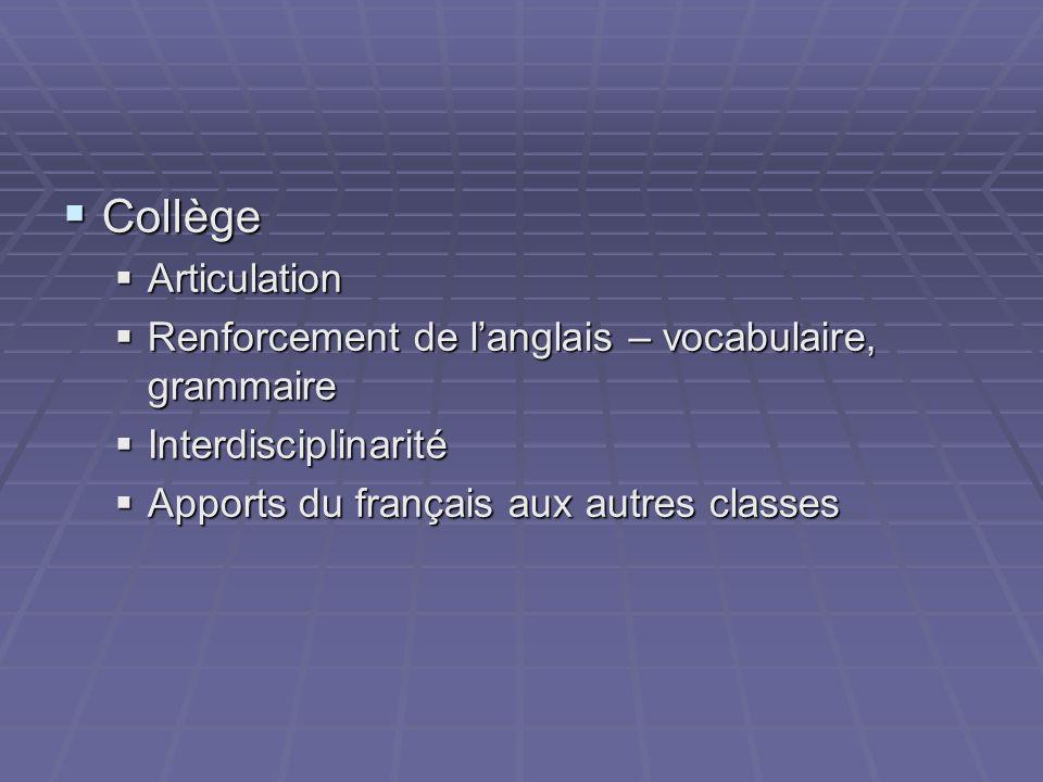 Collège Collège Articulation Articulation Renforcement de langlais – vocabulaire, grammaire Renforcement de langlais – vocabulaire, grammaire Interdisciplinarité Interdisciplinarité Apports du français aux autres classes Apports du français aux autres classes