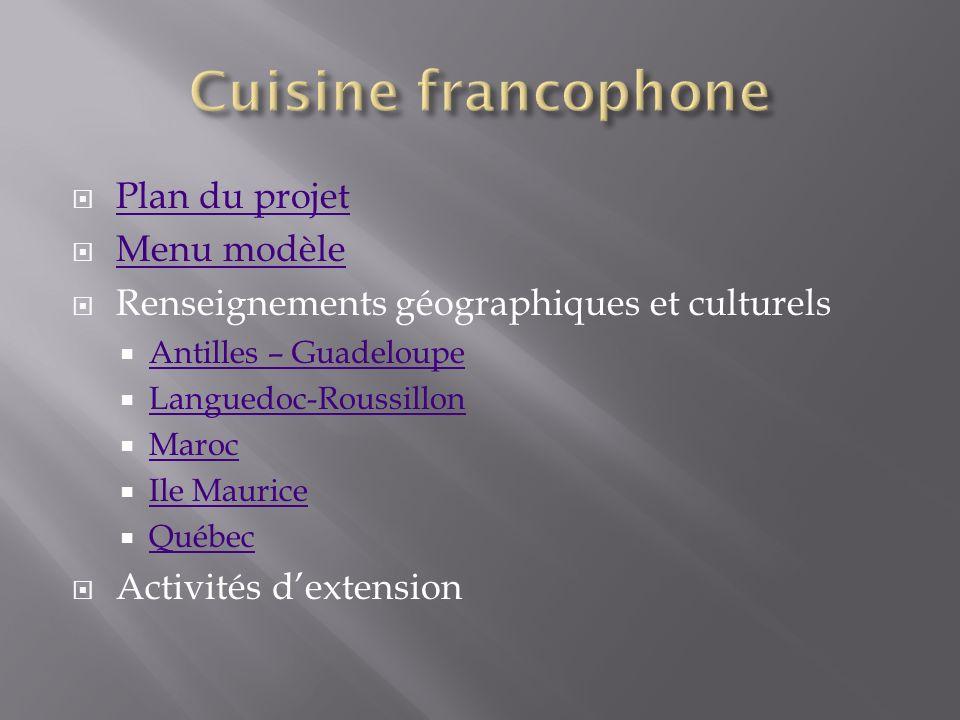 Plan du projet Menu modèle Menu modèle Renseignements géographiques et culturels Antilles – Guadeloupe Languedoc-Roussillon Maroc Ile Maurice Québec Q