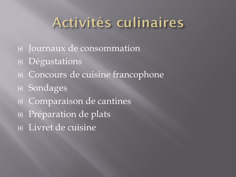 Journaux de consommation Dégustations Concours de cuisine francophone Sondages Comparaison de cantines Préparation de plats Livret de cuisine