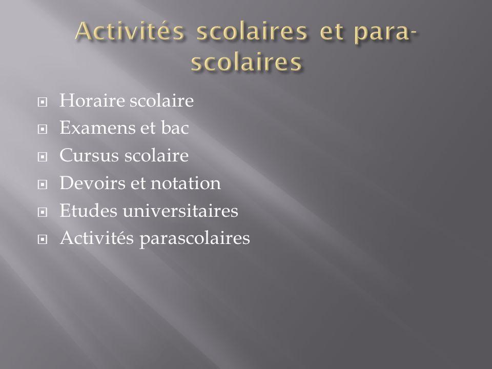 Horaire scolaire Examens et bac Cursus scolaire Devoirs et notation Etudes universitaires Activités parascolaires