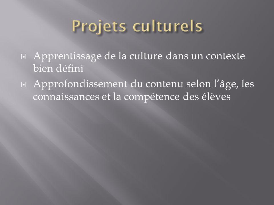 Apprentissage de la culture dans un contexte bien défini Approfondissement du contenu selon lâge, les connaissances et la compétence des élèves
