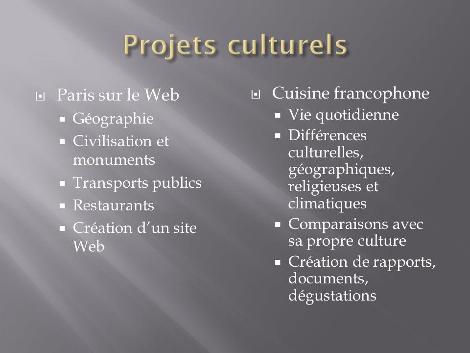 Paris sur le Web Géographie Civilisation et monuments Transports publics Restaurants Création dun site Web Cuisine francophone Vie quotidienne Différe