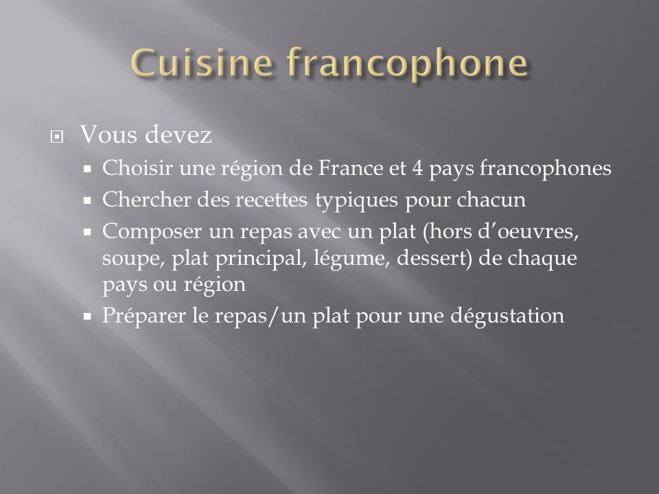 Vous devez Choisir une région de France et 4 pays francophones Chercher des recettes typiques pour chacun Composer un repas avec un plat (hors doeuvre