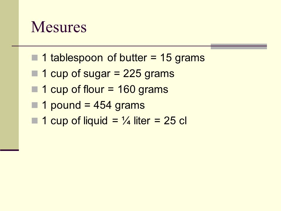Mesures 1 tablespoon of butter = 15 grams 1 cup of sugar = 225 grams 1 cup of flour = 160 grams 1 pound = 454 grams 1 cup of liquid = ¼ liter = 25 cl