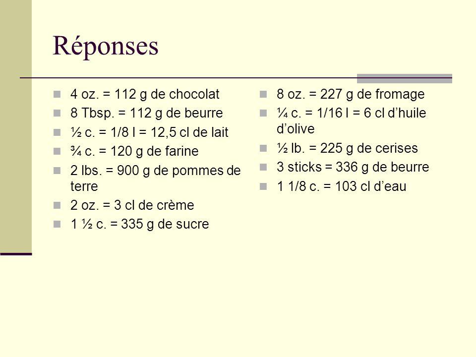 Réponses 4 oz.= 112 g de chocolat 8 Tbsp. = 112 g de beurre ½ c.