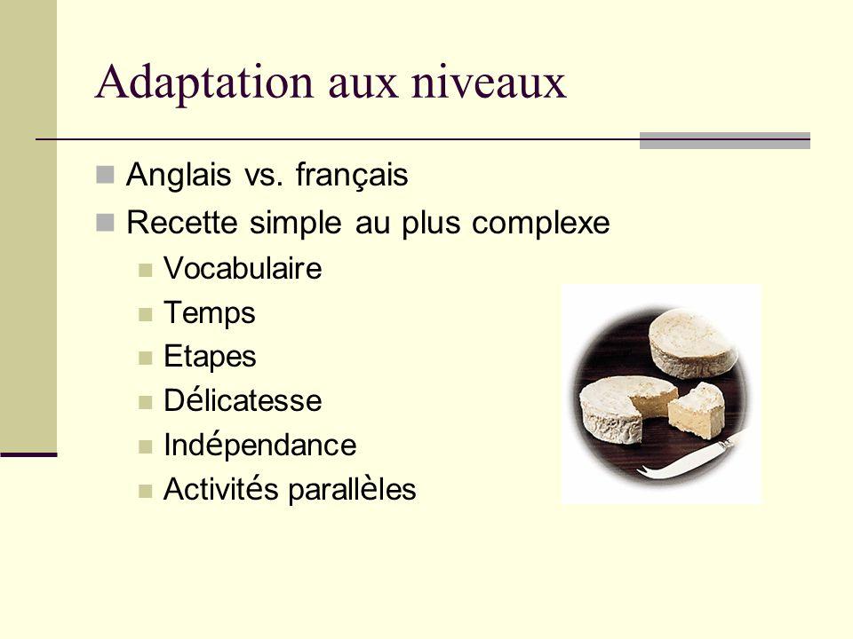 Adaptation aux niveaux Anglais vs.