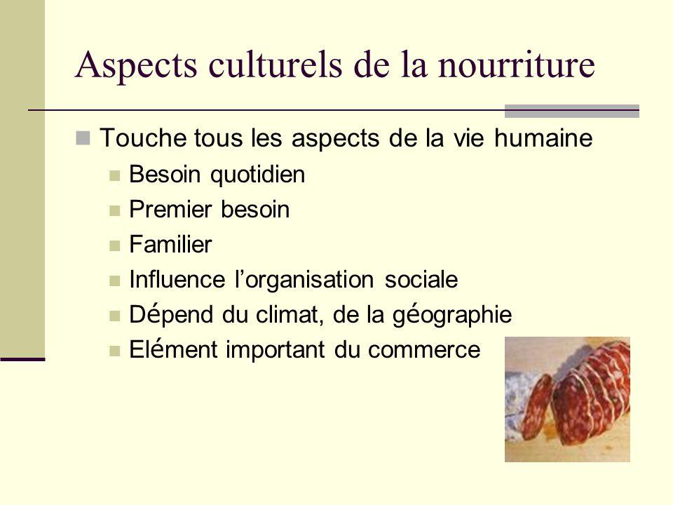 Aspects culturels de la nourriture Touche tous les aspects de la vie humaine Besoin quotidien Premier besoin Familier Influence lorganisation sociale D é pend du climat, de la g é ographie El é ment important du commerce