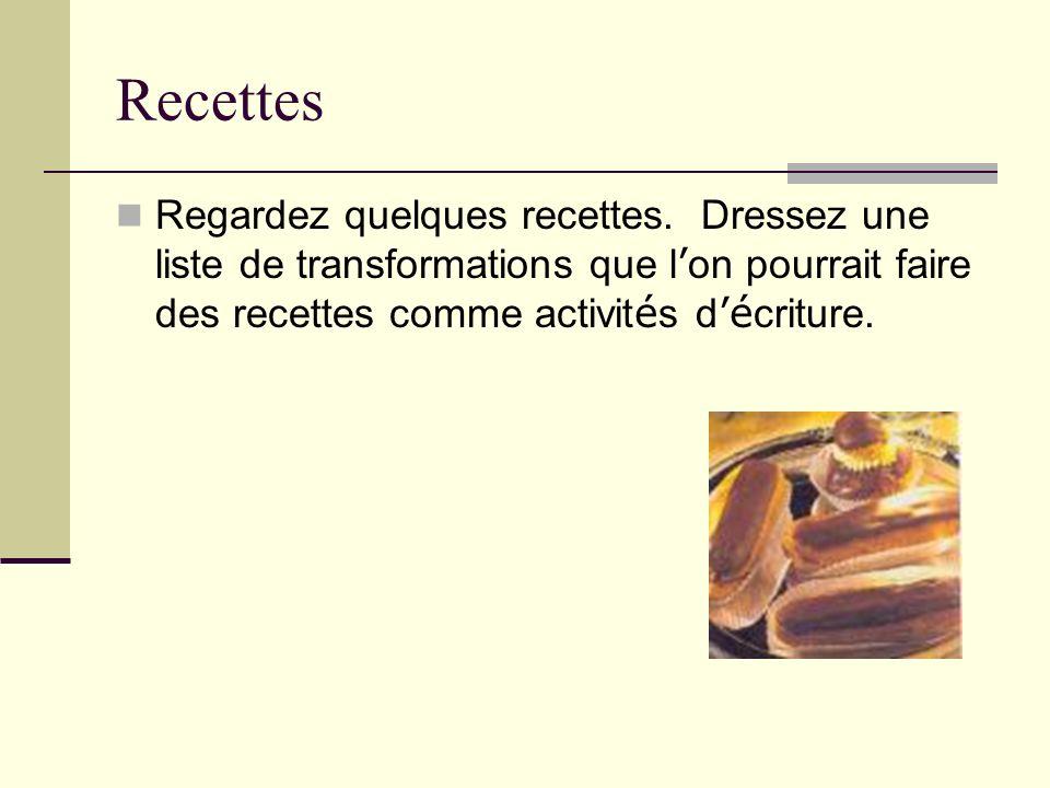 Recettes Regardez quelques recettes.