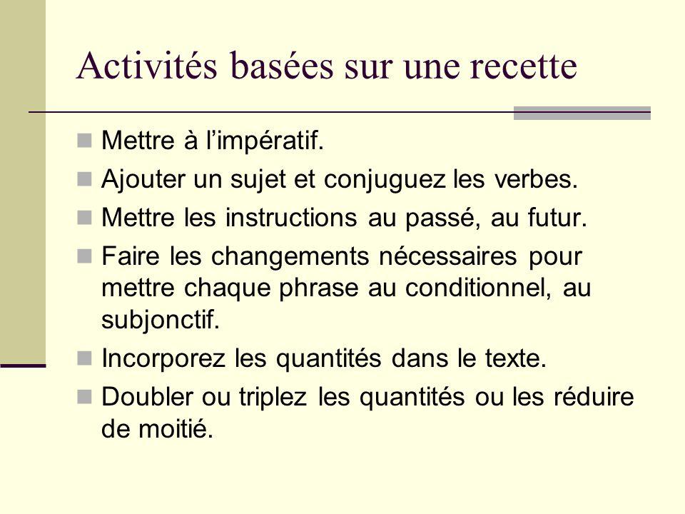 Activités basées sur une recette Mettre à limpératif.