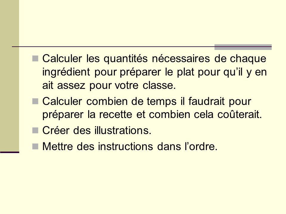 Calculer les quantités nécessaires de chaque ingrédient pour préparer le plat pour quil y en ait assez pour votre classe.