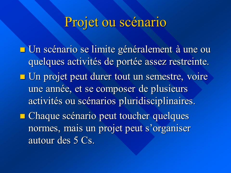 Projet ou scénario Un scénario se limite généralement à une ou quelques activités de portée assez restreinte. Un scénario se limite généralement à une