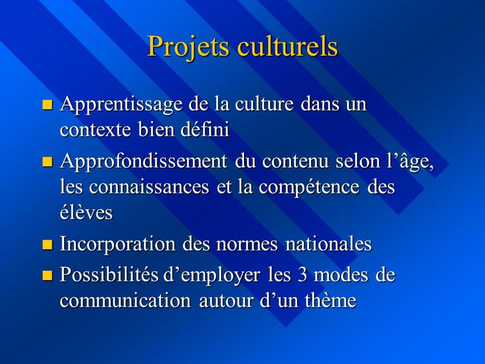 Projets culturels Apprentissage de la culture dans un contexte bien défini Apprentissage de la culture dans un contexte bien défini Approfondissement