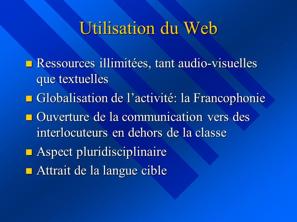 Utilisation du Web Ressources illimitées, tant audio-visuelles que textuelles Ressources illimitées, tant audio-visuelles que textuelles Globalisation de lactivité: la Francophonie Globalisation de lactivité: la Francophonie Ouverture de la communication vers des interlocuteurs en dehors de la classe Ouverture de la communication vers des interlocuteurs en dehors de la classe Aspect pluridisciplinaire Aspect pluridisciplinaire Attrait de la langue cible Attrait de la langue cible