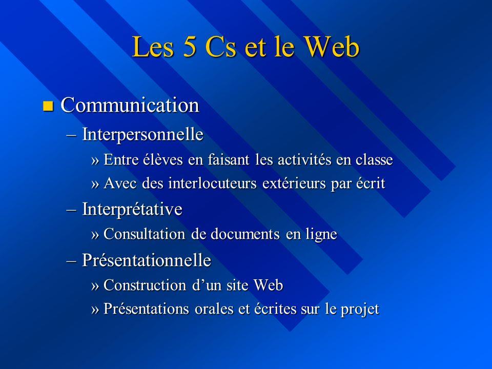 Les 5 Cs et le Web Communication Communication –Interpersonnelle »Entre élèves en faisant les activités en classe »Avec des interlocuteurs extérieurs