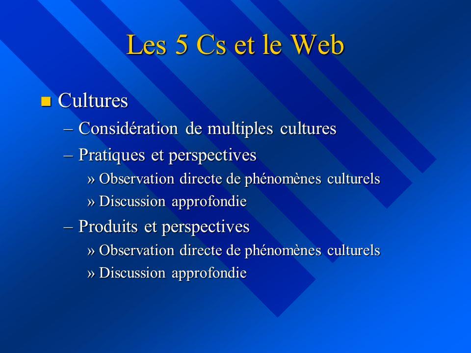 Les 5 Cs et le Web Cultures Cultures –Considération de multiples cultures –Pratiques et perspectives »Observation directe de phénomènes culturels »Discussion approfondie –Produits et perspectives »Observation directe de phénomènes culturels »Discussion approfondie
