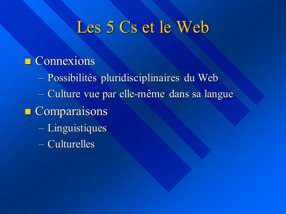 Les 5 Cs et le Web Connexions Connexions –Possibilités pluridisciplinaires du Web –Culture vue par elle-même dans sa langue Comparaisons Comparaisons –Linguistiques –Culturelles