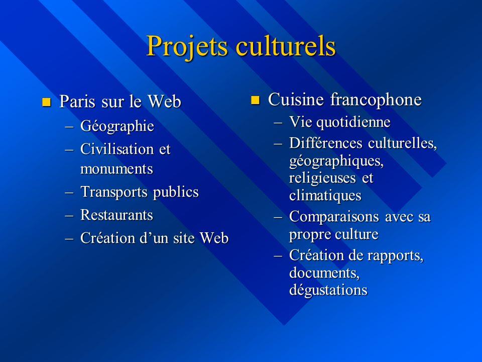 Projets culturels Paris sur le Web Paris sur le Web –Géographie –Civilisation et monuments –Transports publics –Restaurants –Création dun site Web Cui
