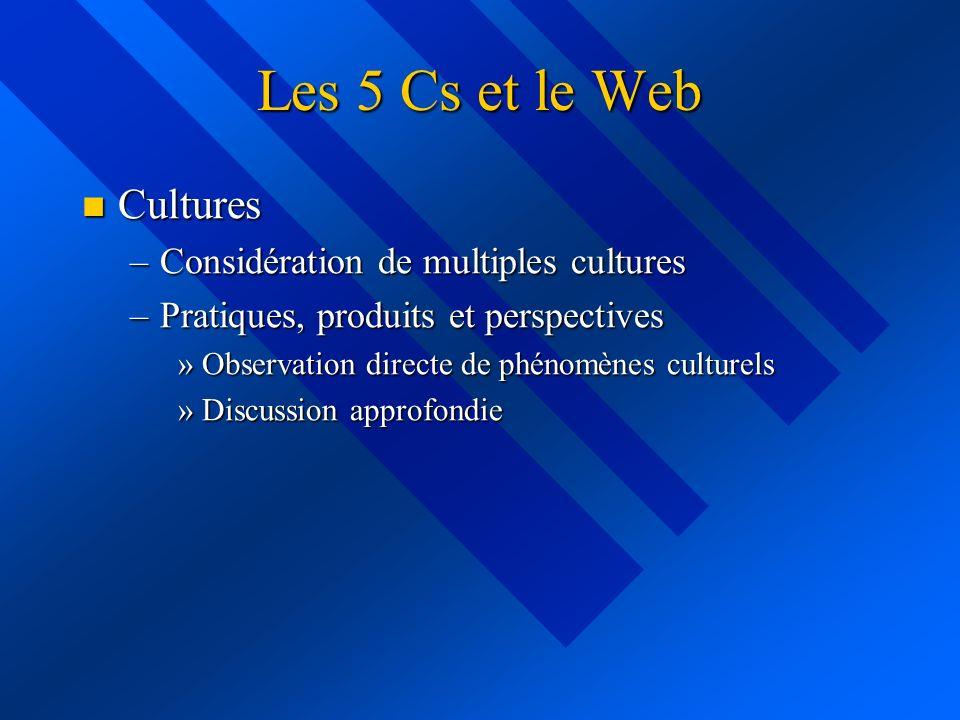 Les 5 Cs et le Web Cultures Cultures –Considération de multiples cultures –Pratiques, produits et perspectives »Observation directe de phénomènes cult
