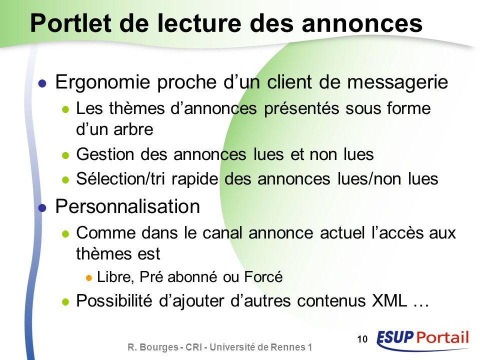R. Bourges - CRI - Université de Rennes 1 10 Portlet de lecture des annonces Ergonomie proche dun client de messagerie Les thèmes dannonces présentés