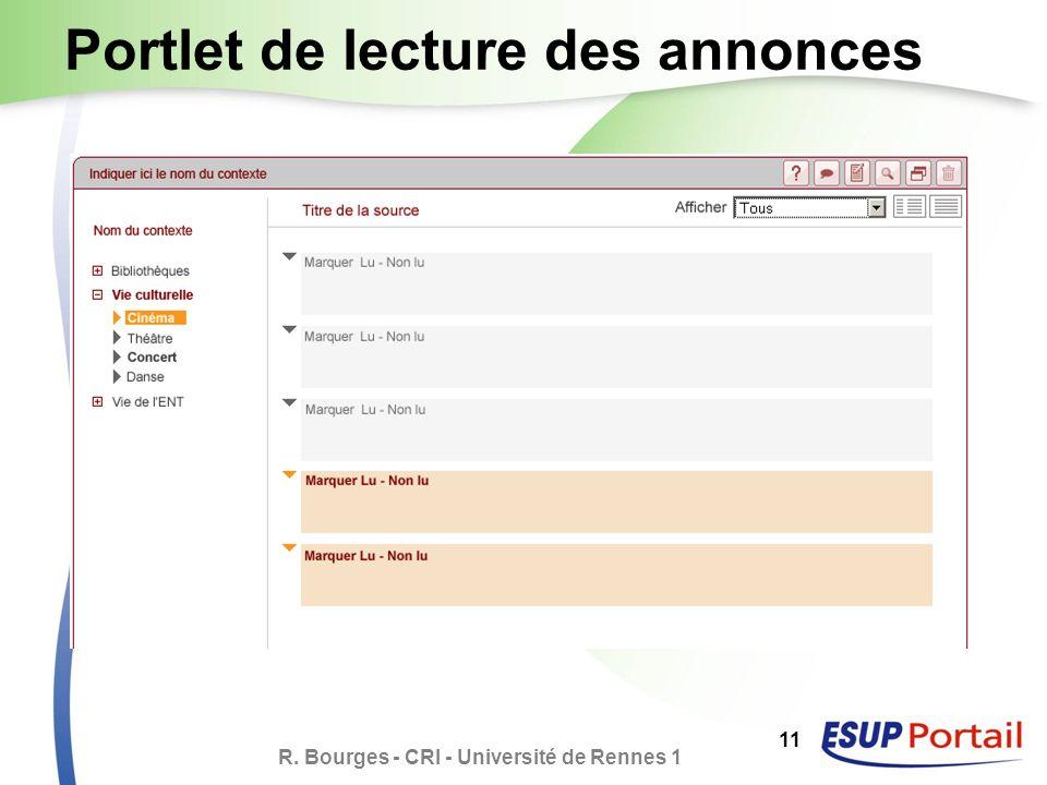 R. Bourges - CRI - Université de Rennes 1 11 Portlet de lecture des annonces