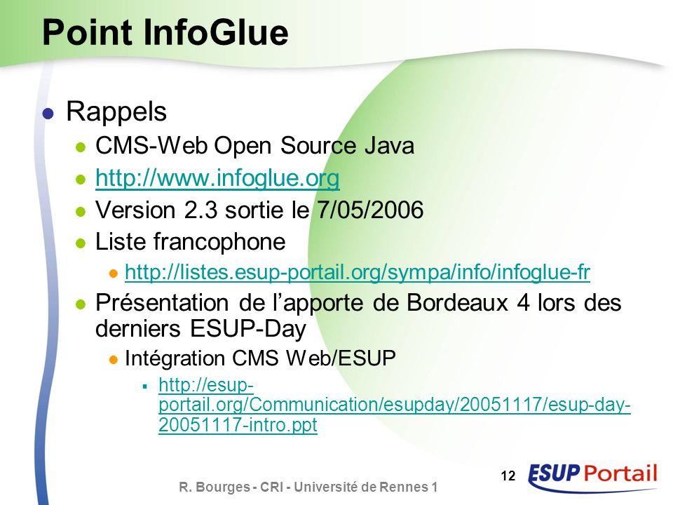 R. Bourges - CRI - Université de Rennes 1 12 Point InfoGlue Rappels CMS-Web Open Source Java http://www.infoglue.org Version 2.3 sortie le 7/05/2006 L