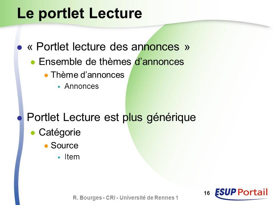 R. Bourges - CRI - Université de Rennes 1 16 Le portlet Lecture « Portlet lecture des annonces » Ensemble de thèmes dannonces Thème dannonces Annonces