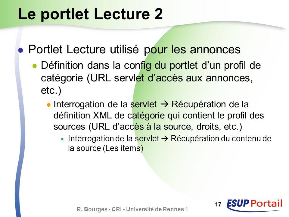 R. Bourges - CRI - Université de Rennes 1 17 Le portlet Lecture 2 Portlet Lecture utilisé pour les annonces Définition dans la config du portlet dun p