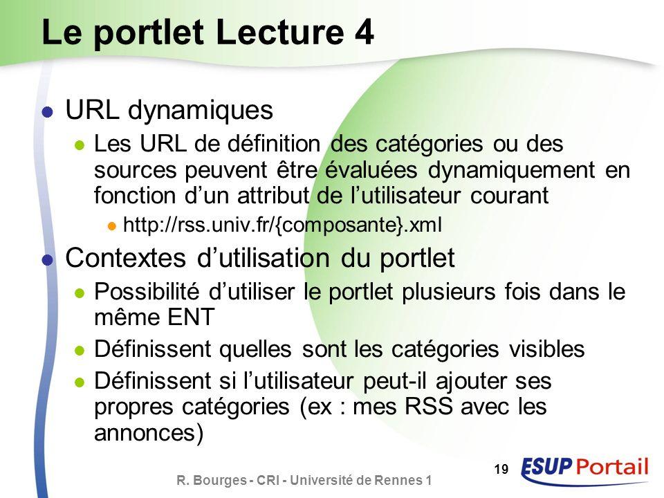 R. Bourges - CRI - Université de Rennes 1 19 Le portlet Lecture 4 URL dynamiques Les URL de définition des catégories ou des sources peuvent être éval