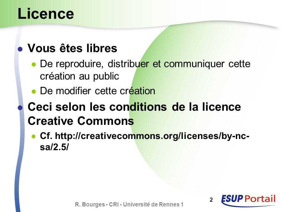 R. Bourges - CRI - Université de Rennes 1 2 Licence Vous êtes libres De reproduire, distribuer et communiquer cette création au public De modifier cet