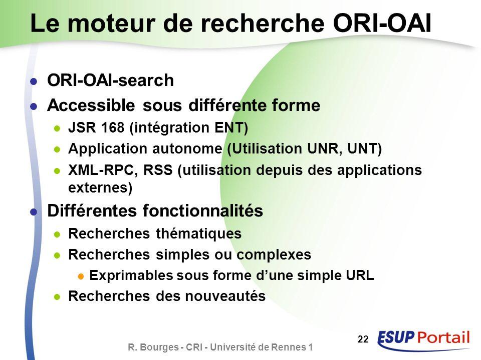R. Bourges - CRI - Université de Rennes 1 22 Le moteur de recherche ORI-OAI ORI-OAI-search Accessible sous différente forme JSR 168 (intégration ENT)