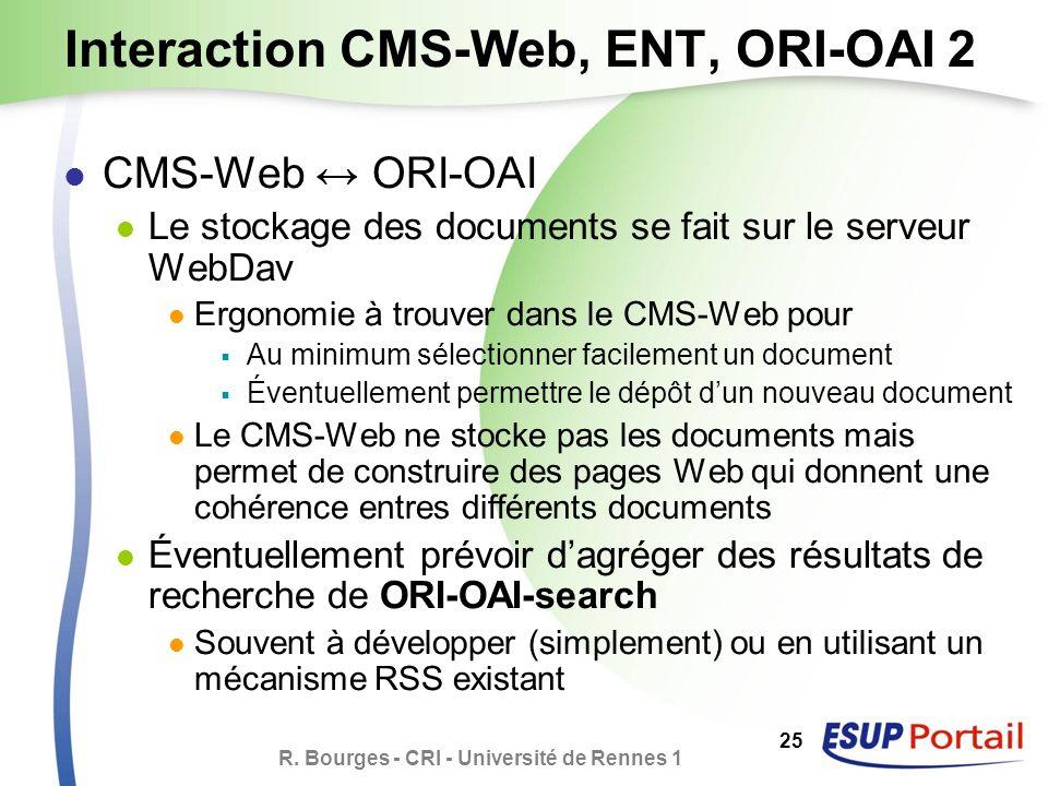 R. Bourges - CRI - Université de Rennes 1 25 Interaction CMS-Web, ENT, ORI-OAI 2 CMS-Web ORI-OAI Le stockage des documents se fait sur le serveur WebD