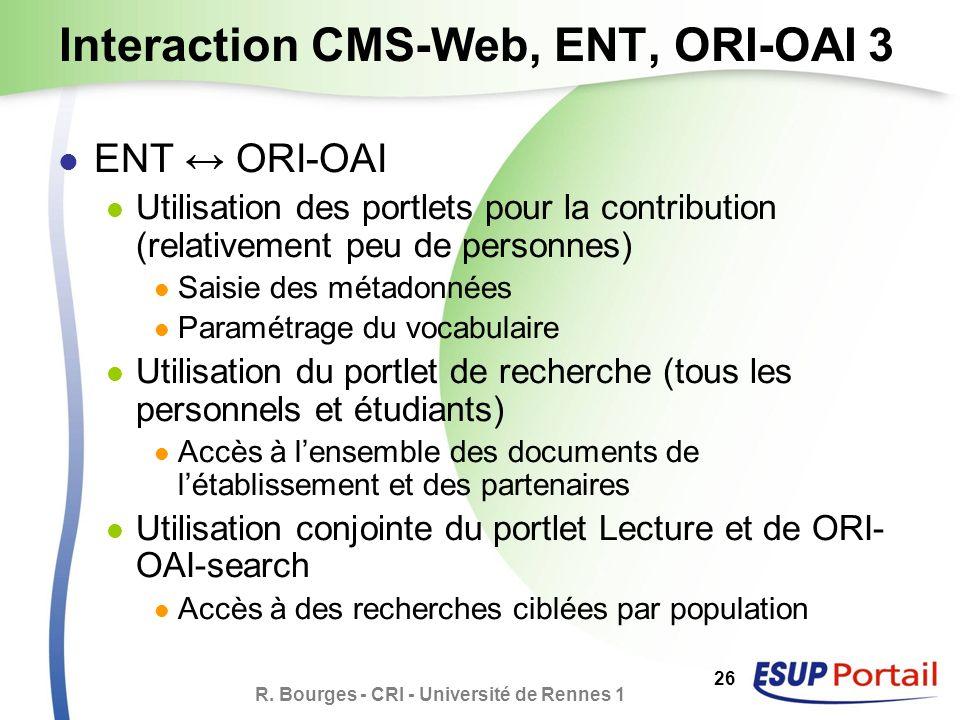 R. Bourges - CRI - Université de Rennes 1 26 Interaction CMS-Web, ENT, ORI-OAI 3 ENT ORI-OAI Utilisation des portlets pour la contribution (relativeme
