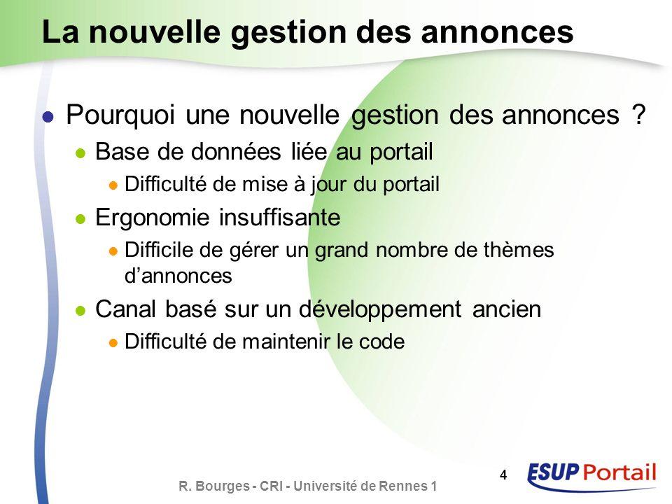 R. Bourges - CRI - Université de Rennes 1 4 La nouvelle gestion des annonces Pourquoi une nouvelle gestion des annonces ? Base de données liée au port