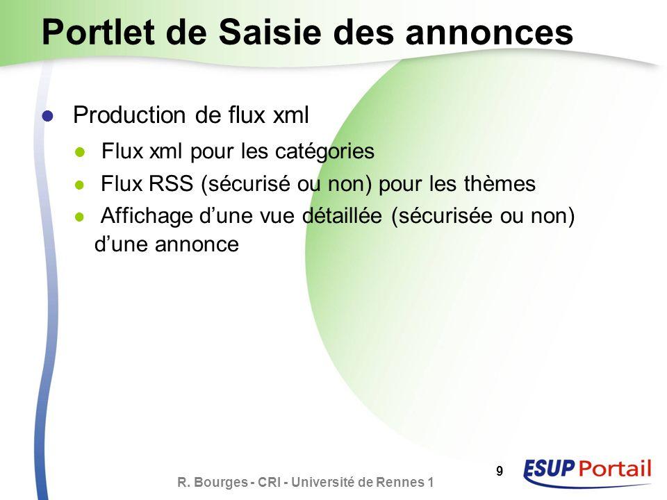 R. Bourges - CRI - Université de Rennes 1 9 Portlet de Saisie des annonces Production de flux xml Flux xml pour les catégories Flux RSS (sécurisé ou n