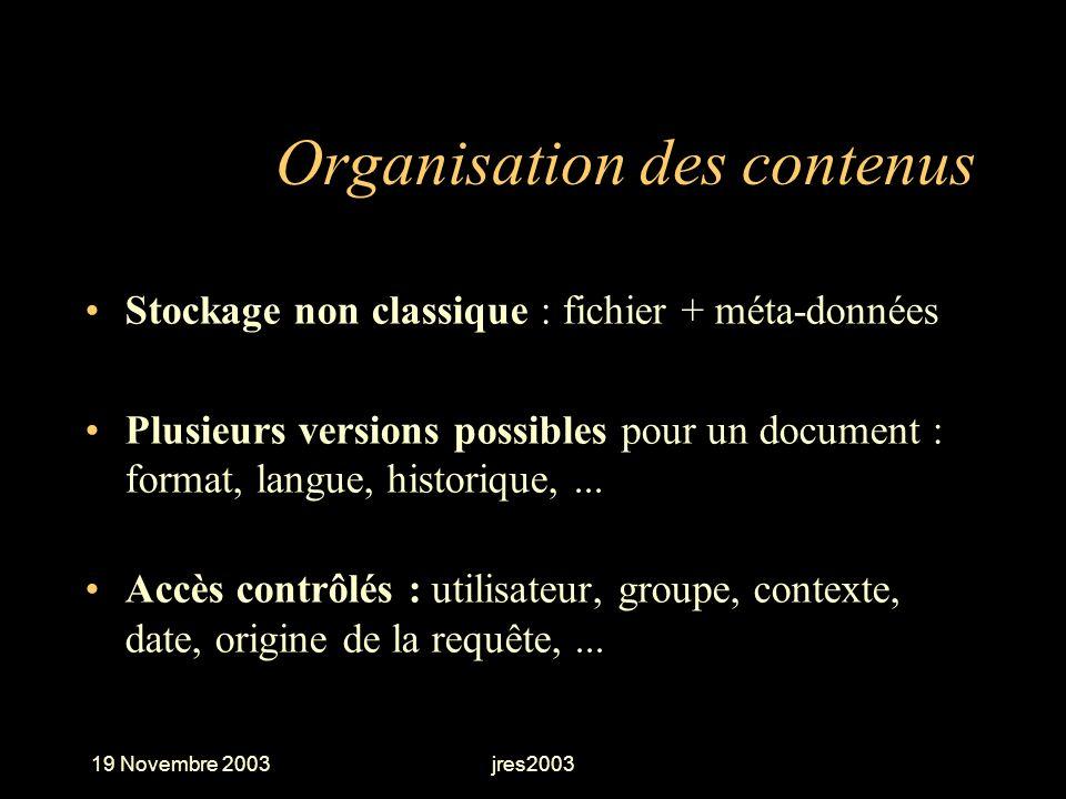 19 Novembre 2003jres2003 Organisation des contenus Stockage non classique : fichier + méta-données Plusieurs versions possibles pour un document : for