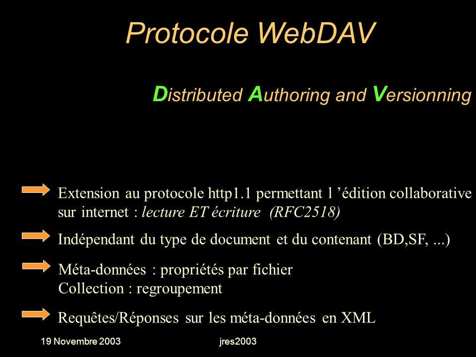 19 Novembre 2003jres2003 Extension au protocole http1.1 permettant l édition collaborative sur internet : lecture ET écriture (RFC2518) Protocole WebD