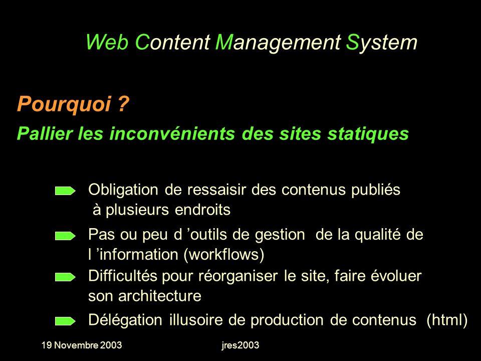 19 Novembre 2003jres2003 Web Content Management System Difficultés pour réorganiser le site, faire évoluer son architecture Pas ou peu d outils de ges