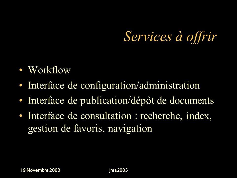 19 Novembre 2003jres2003 Services à offrir Workflow Interface de configuration/administration Interface de publication/dépôt de documents Interface de