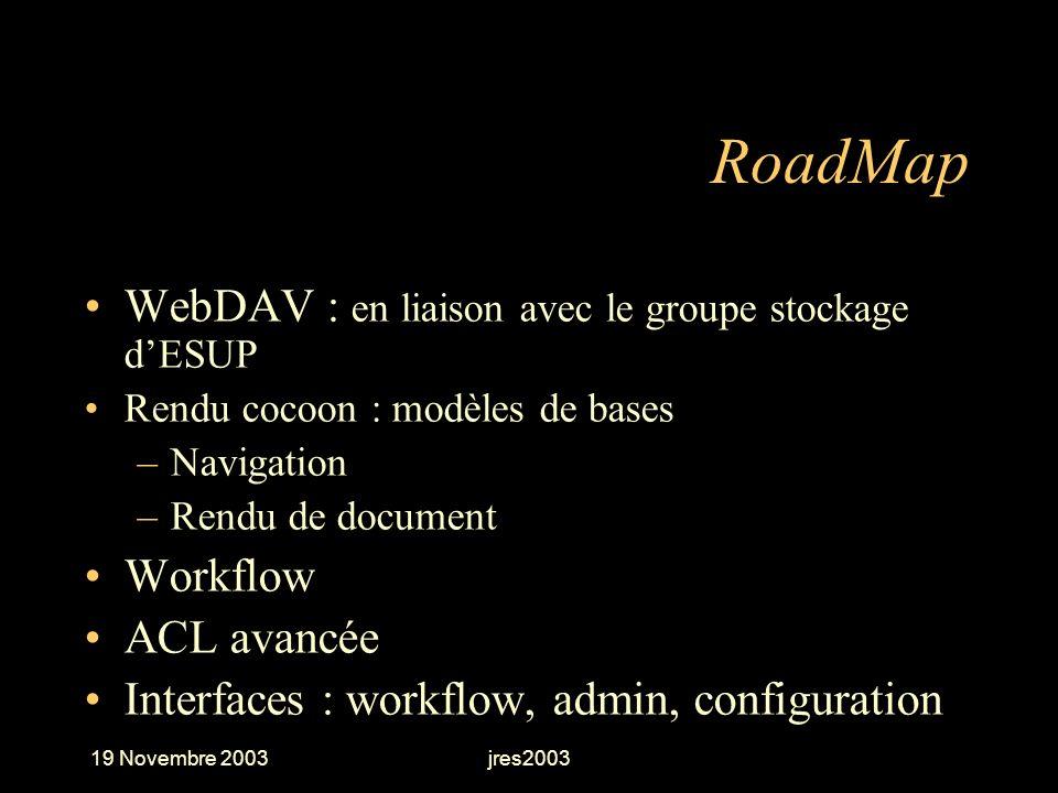19 Novembre 2003jres2003 RoadMap WebDAV : en liaison avec le groupe stockage dESUP Rendu cocoon : modèles de bases –Navigation –Rendu de document Work
