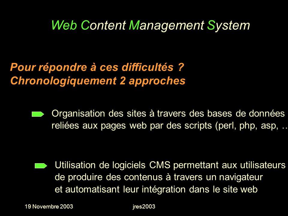 19 Novembre 2003jres2003 Web Content Management System Utilisation de logiciels CMS permettant aux utilisateurs de produire des contenus à travers un