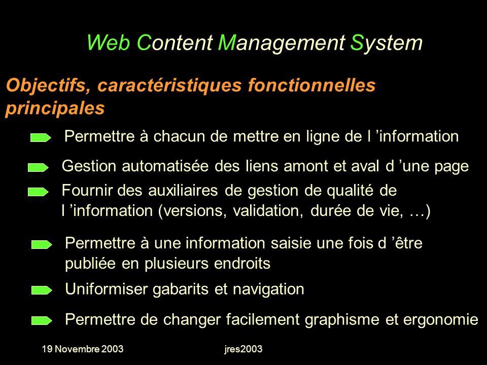 19 Novembre 2003jres2003 Web Content Management System Permettre à une information saisie une fois d être publiée en plusieurs endroits Gestion automa