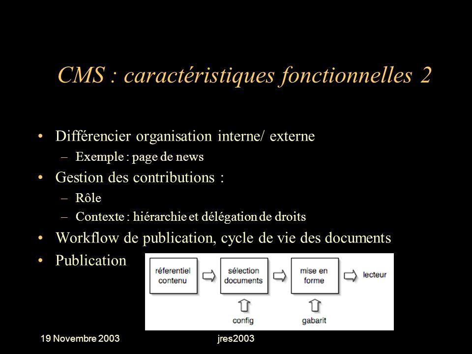 19 Novembre 2003jres2003 CMS : caractéristiques fonctionnelles 2 Différencier organisation interne/ externe –Exemple : page de news Gestion des contri