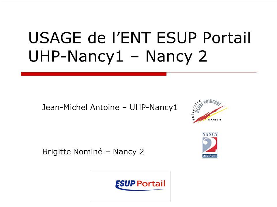 USAGE de lENT ESUP Portail UHP-Nancy1 – Nancy 2 Jean-Michel Antoine – UHP-Nancy1 Brigitte Nominé – Nancy 2