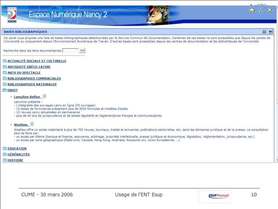 CUME - 30 mars 2006Usage de l'ENT Esup10
