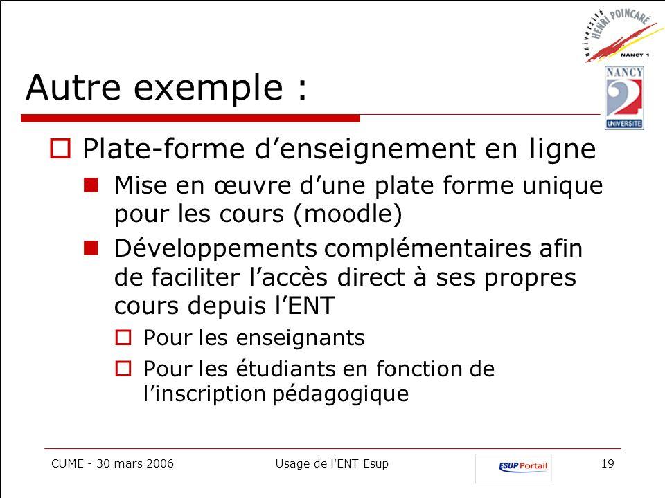 CUME - 30 mars 2006Usage de l'ENT Esup19 Autre exemple : Plate-forme denseignement en ligne Mise en œuvre dune plate forme unique pour les cours (mood