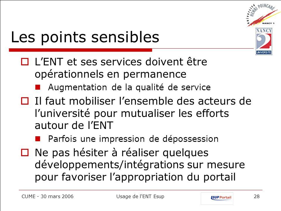 CUME - 30 mars 2006Usage de l'ENT Esup28 Les points sensibles LENT et ses services doivent être opérationnels en permanence Augmentation de la qualité