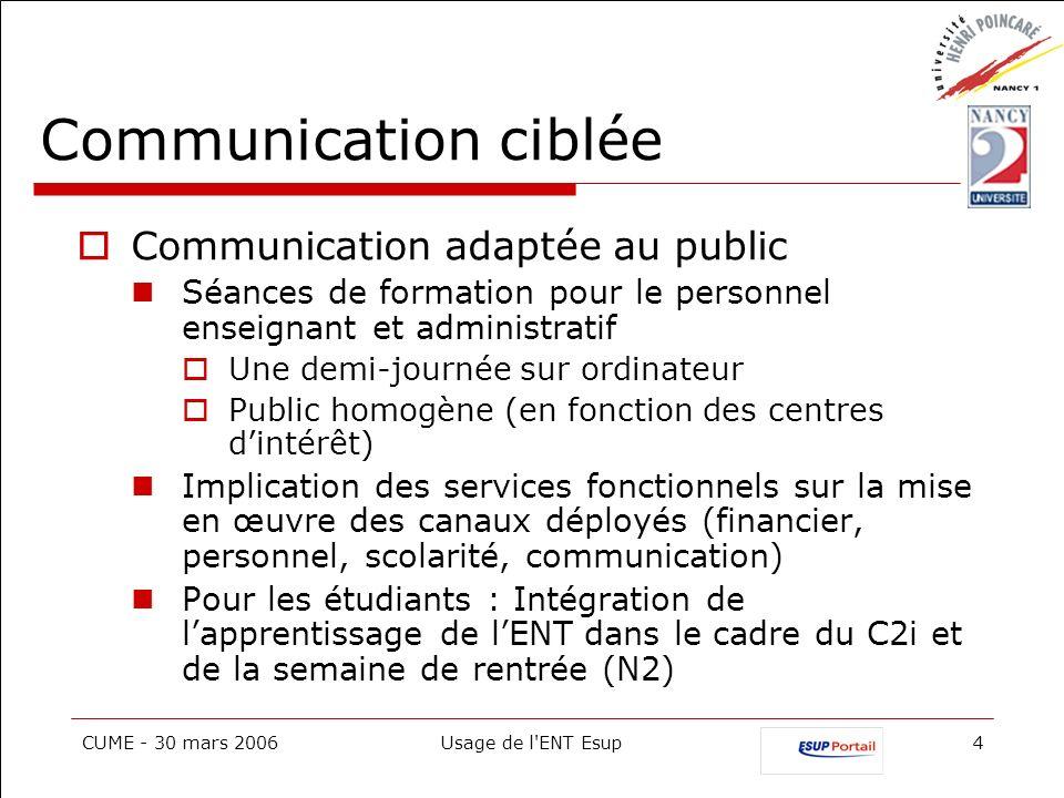 CUME - 30 mars 2006Usage de l'ENT Esup4 Communication ciblée Communication adaptée au public Séances de formation pour le personnel enseignant et admi