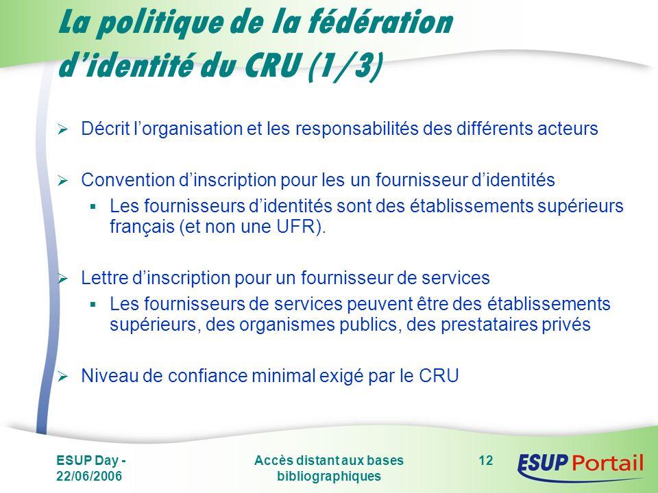 ESUP Day - 22/06/2006 Accès distant aux bases bibliographiques 12 La politique de la fédération didentité du CRU (1/3) Décrit lorganisation et les responsabilités des différents acteurs Convention dinscription pour les un fournisseur didentités Les fournisseurs didentités sont des établissements supérieurs français (et non une UFR).