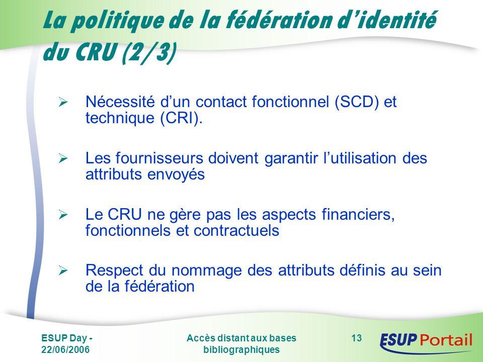 ESUP Day - 22/06/2006 Accès distant aux bases bibliographiques 13 La politique de la fédération didentité du CRU (2/3) Nécessité dun contact fonctionnel (SCD) et technique (CRI).