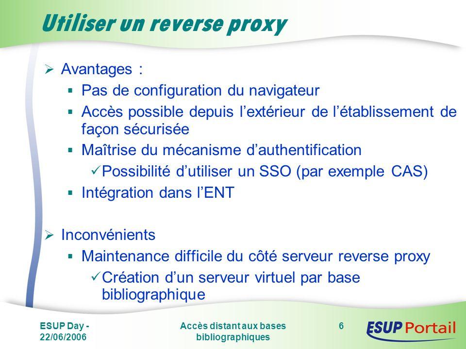 ESUP Day - 22/06/2006 Accès distant aux bases bibliographiques 6 Utiliser un reverse proxy Avantages : Pas de configuration du navigateur Accès possib